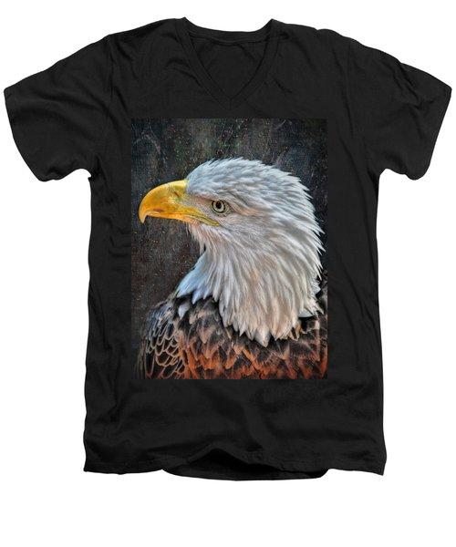 Men's V-Neck T-Shirt featuring the photograph American Bald Eagle by Savannah Gibbs