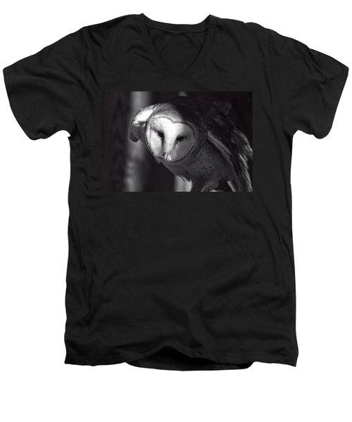 American Barn Owl Monochrome Men's V-Neck T-Shirt