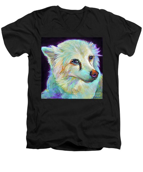 Men's V-Neck T-Shirt featuring the painting American Eskimo by Robert Phelps