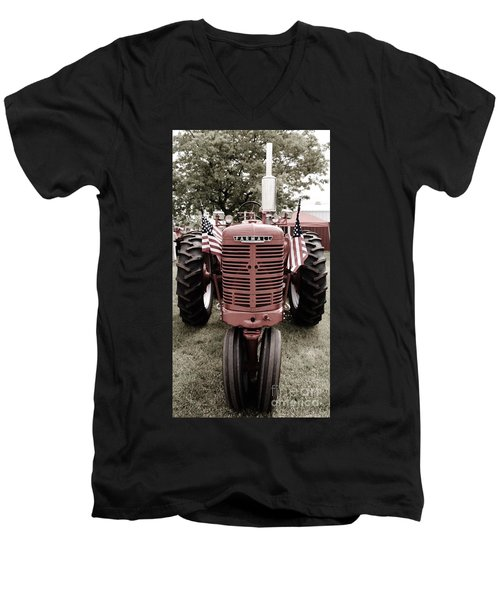 Men's V-Neck T-Shirt featuring the photograph American Farmall Head On by Meagan  Visser