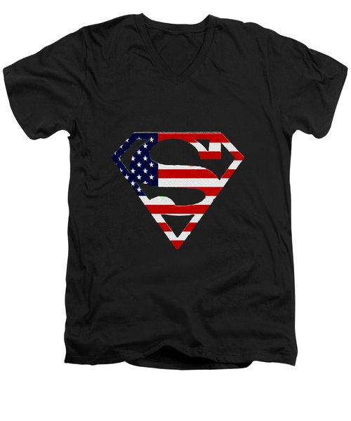 American Flag Superman Shield Men's V-Neck T-Shirt by Bill Cannon