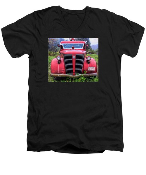 Men's V-Neck T-Shirt featuring the photograph American Foamite Firetruck1 by Susan Crossman Buscho