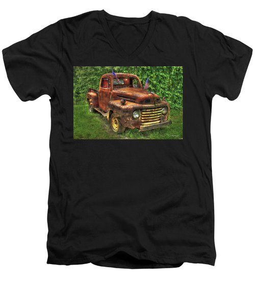 American Ford 1950 F-1 Ford Pickup Truck Art Men's V-Neck T-Shirt