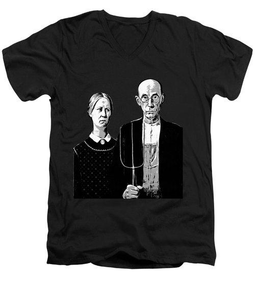 American Gothic Graphic Grant Wood Black White Tee Men's V-Neck T-Shirt