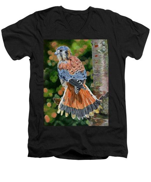 American Kestrel In My Garden Men's V-Neck T-Shirt by Phyllis Beiser