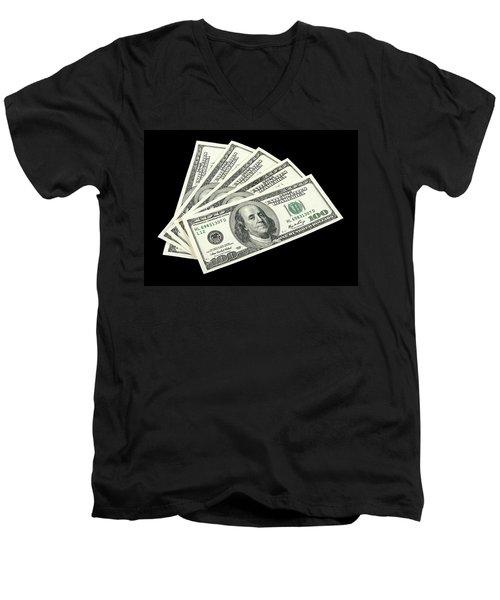 American Money On Black Background Men's V-Neck T-Shirt