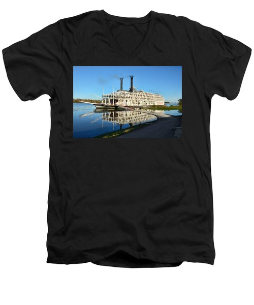 American Queen Steamboat Reflections On The Mississippi River Men's V-Neck T-Shirt