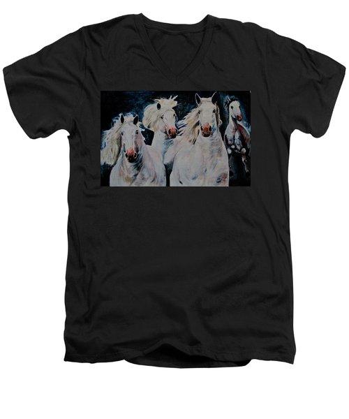 American White Men's V-Neck T-Shirt