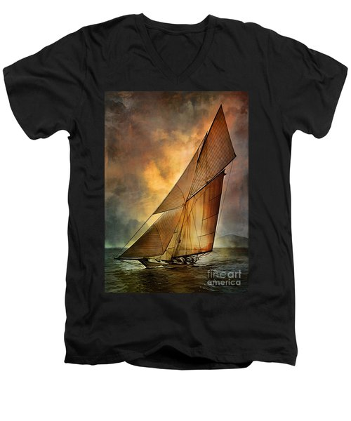 Men's V-Neck T-Shirt featuring the digital art America's Cup 1 by Andrzej Szczerski