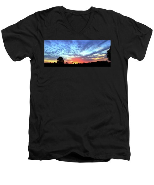 City On A Hill - Americus, Ga Sunset Men's V-Neck T-Shirt by Jerry Battle