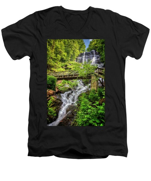 Men's V-Neck T-Shirt featuring the photograph Amicalola Falls Top To Bottom by Debra and Dave Vanderlaan