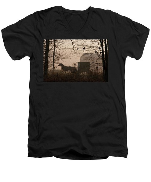 Amish Buggy Fall Men's V-Neck T-Shirt