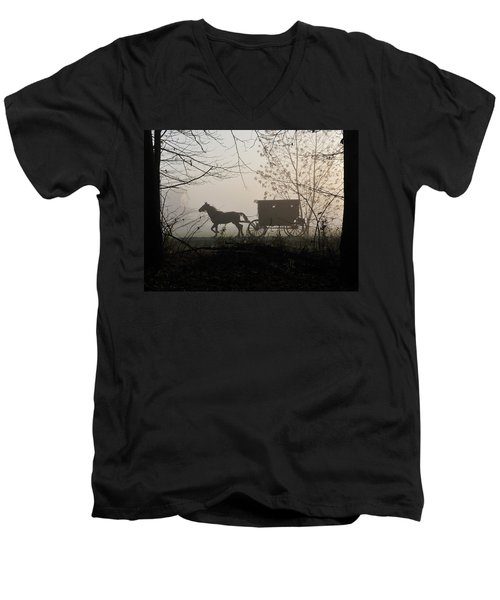 Amish Buggy Foggy Sunday Men's V-Neck T-Shirt
