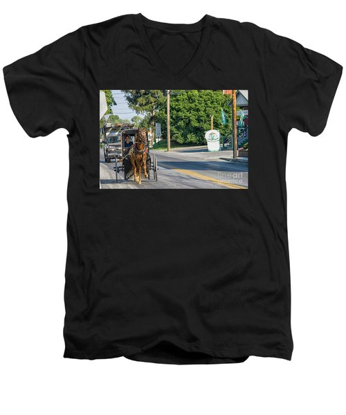 Men's V-Neck T-Shirt featuring the photograph Amish Girl On The Road by Patricia Hofmeester