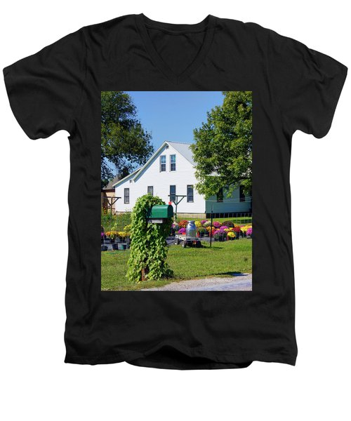 Men's V-Neck T-Shirt featuring the photograph Amish House With Mums by Cricket Hackmann