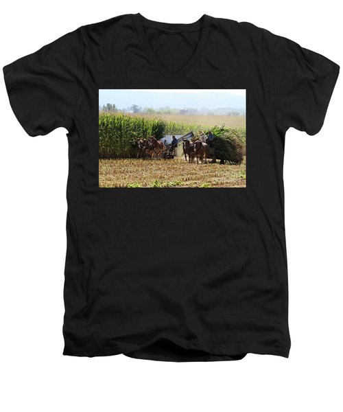 Amish Men Harvesting Corn Men's V-Neck T-Shirt