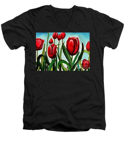 Among The Tulips Men's V-Neck T-Shirt