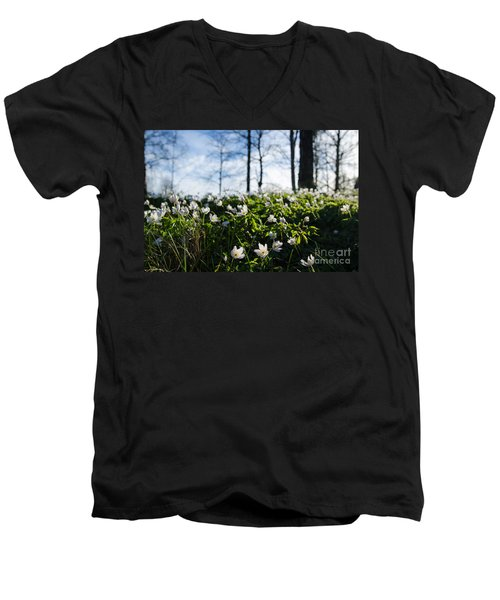 Men's V-Neck T-Shirt featuring the photograph Among Windflowers On The Ground by Kennerth and Birgitta Kullman