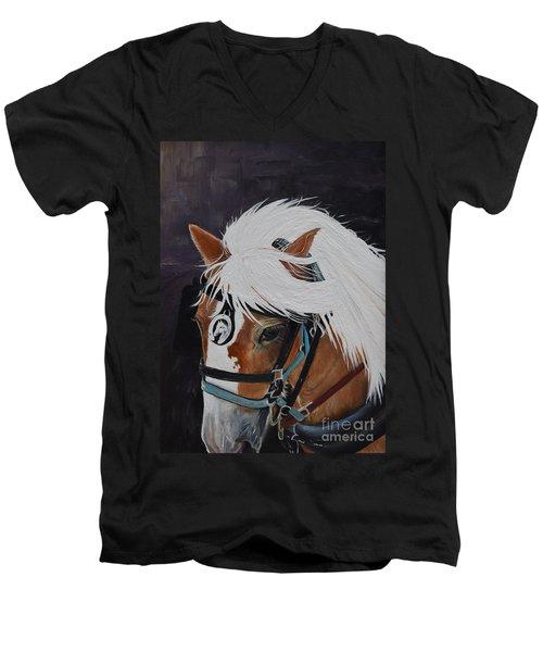 Amos - Haflinger - Horse Men's V-Neck T-Shirt
