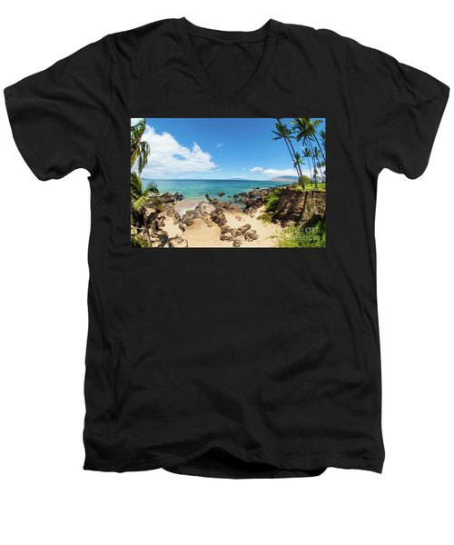 Men's V-Neck T-Shirt featuring the photograph Amzing Beach In Hawaii Islands by Micah May