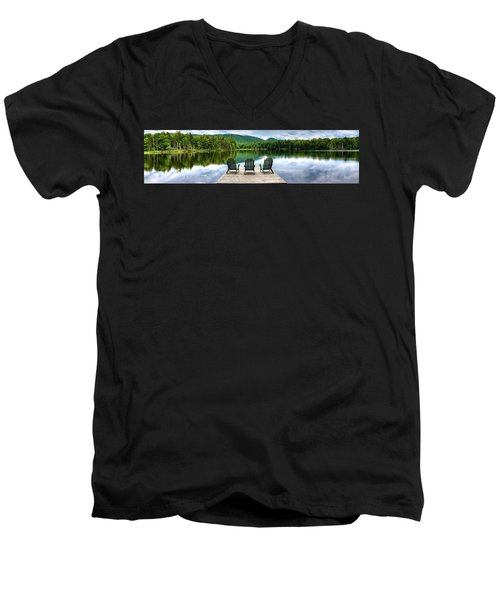 Men's V-Neck T-Shirt featuring the photograph An Adirondack Panorama by David Patterson