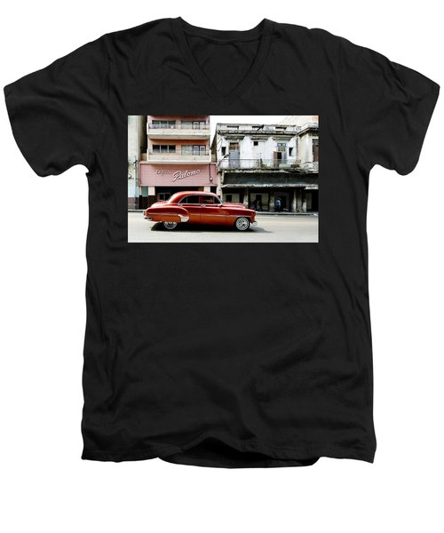 Men's V-Neck T-Shirt featuring the photograph An American In Havana by Denis Rouleau