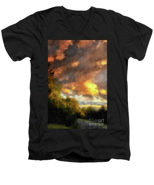 Men's V-Neck T-Shirt featuring the digital art An August Sunset by Lois Bryan