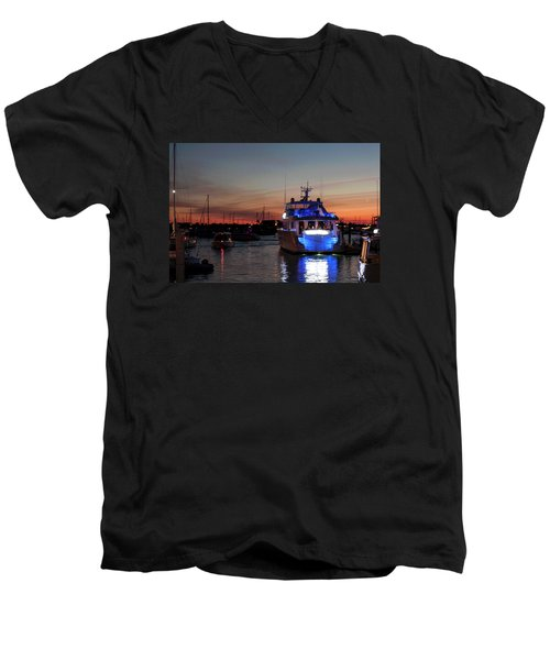 Men's V-Neck T-Shirt featuring the photograph An Evening In Newport Rhode Island Iv by Suzanne Gaff