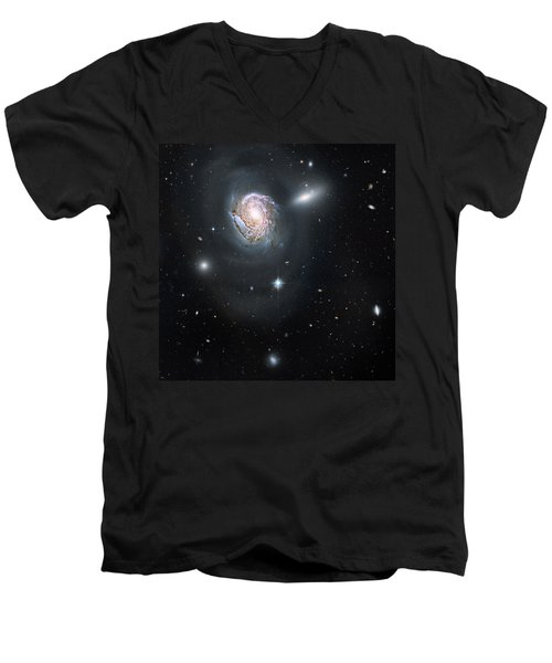 Men's V-Neck T-Shirt featuring the photograph An Island Universe In The Coma Cluster by Nasa