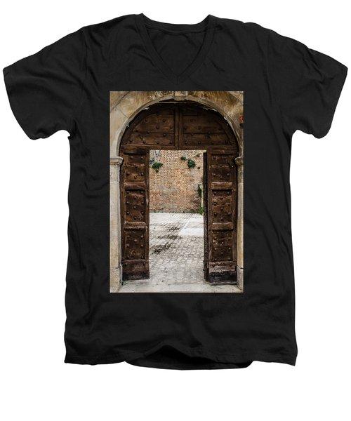 An Old Wooden Door 2 Men's V-Neck T-Shirt