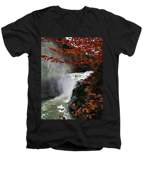 An Upper Letchworth Autumn Men's V-Neck T-Shirt by Lianne Schneider