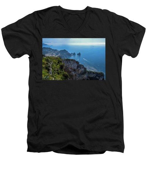 Anacapri On Isle Of Capri Men's V-Neck T-Shirt by Marilyn Burton