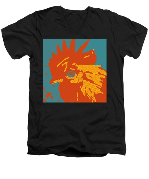 Analog Rooster Rocks Men's V-Neck T-Shirt