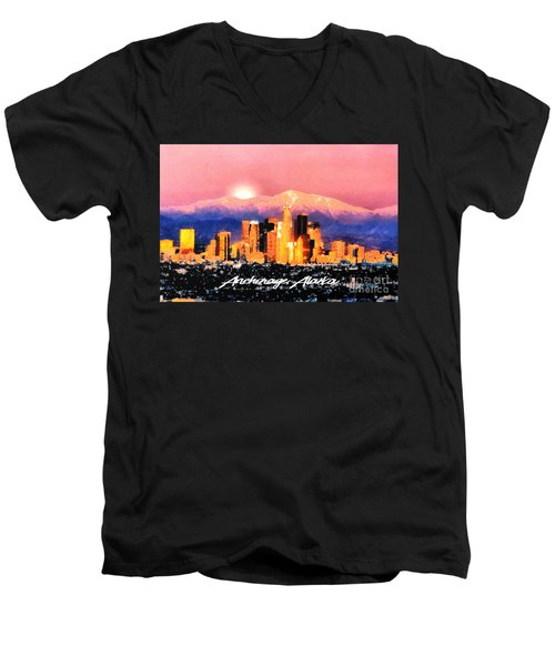 Men's V-Neck T-Shirt featuring the digital art Anchorage - Bright-named by Elaine Ossipov