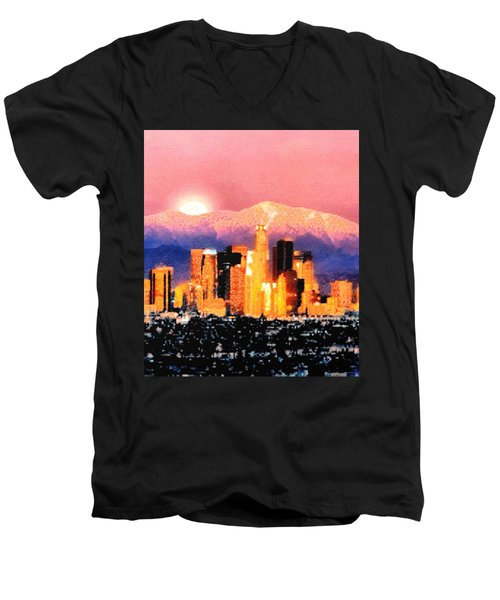 Men's V-Neck T-Shirt featuring the digital art Anchorage by Elaine Ossipov