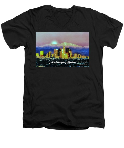 Men's V-Neck T-Shirt featuring the digital art Anchorage-subdued by Elaine Ossipov