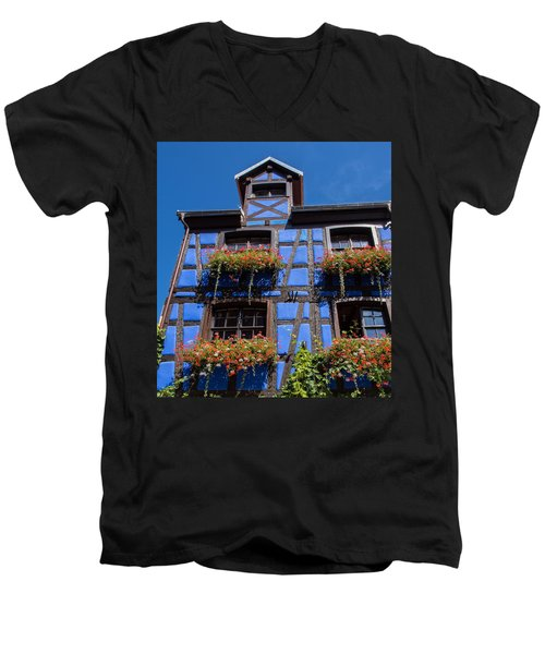 Ancient Alsace Auberge In Blue Men's V-Neck T-Shirt