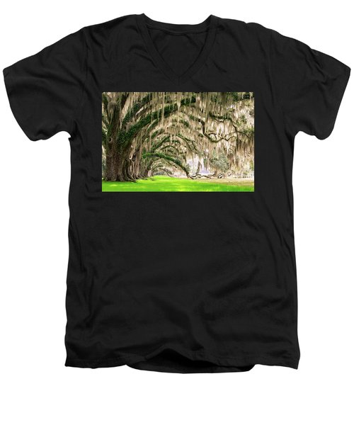 Ancient Southern Oaks Men's V-Neck T-Shirt by Serge Skiba