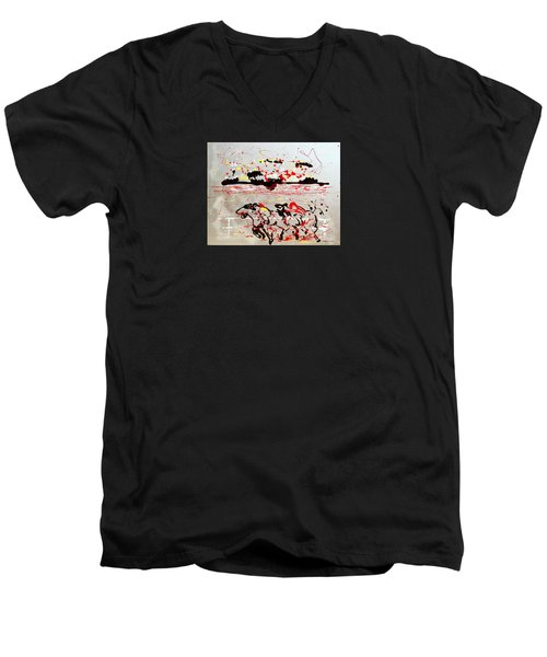 And Down The Stretch They Come Men's V-Neck T-Shirt