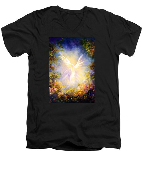Men's V-Neck T-Shirt featuring the painting Angel Descending by Marina Petro