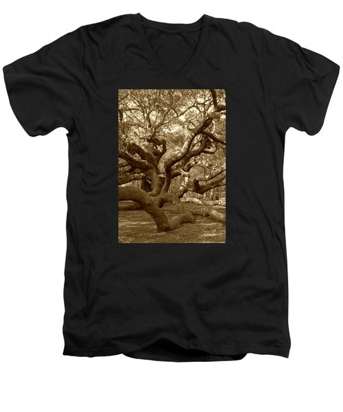 Angel Oak In Sepia Men's V-Neck T-Shirt
