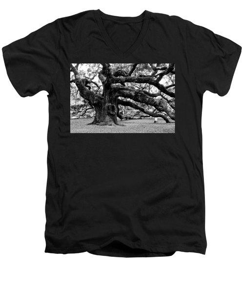 Angel Oak Tree 2009 Black And White Men's V-Neck T-Shirt