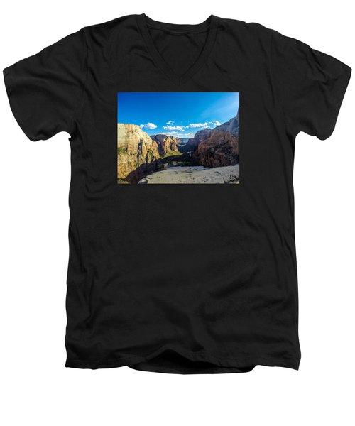 Angels Landing Men's V-Neck T-Shirt by Alpha Wanderlust