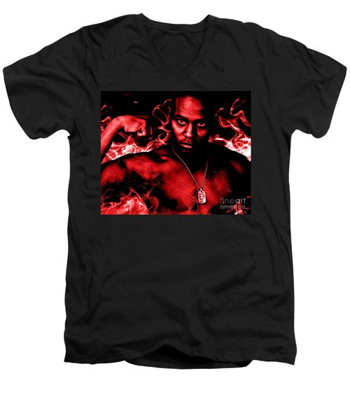 Men's V-Neck T-Shirt featuring the painting Anger by Tbone Oliver