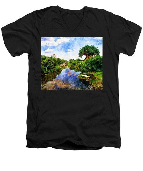 Animal Kingdom Tranquility Men's V-Neck T-Shirt by Sandy MacGowan