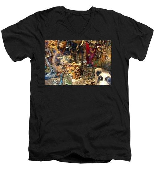 Animal Masks From Venice Men's V-Neck T-Shirt