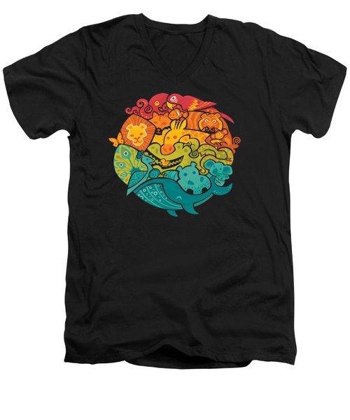 Animals Of The World Men's V-Neck T-Shirt