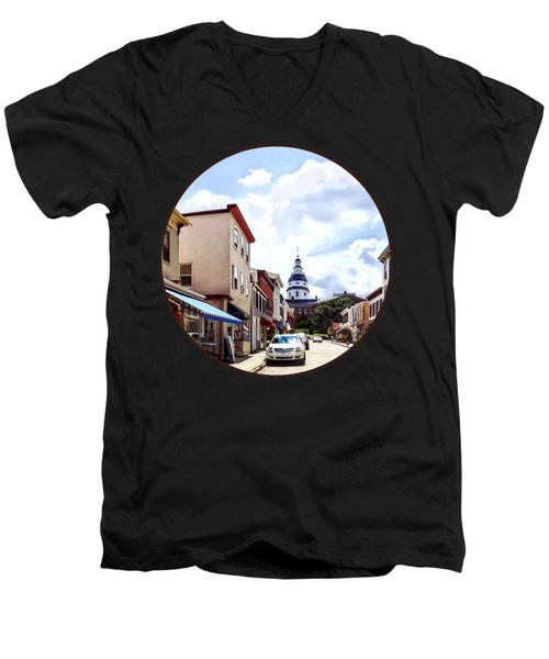 Annapolis Md - Shops On Maryland Avenue And Maryland State House Men's V-Neck T-Shirt