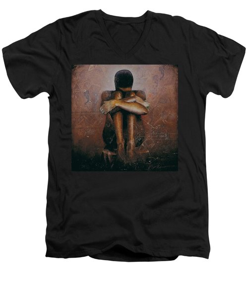 Men's V-Neck T-Shirt featuring the painting Annunciation / Mary by Christopher Marion Thomas