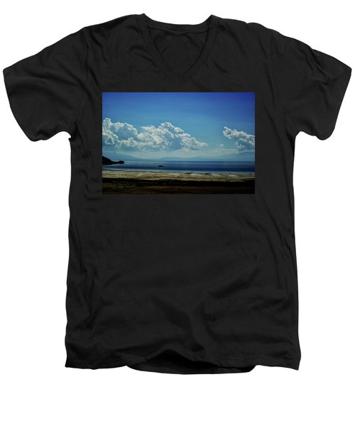 Men's V-Neck T-Shirt featuring the photograph Antelope Island, Utah by Cynthia Powell